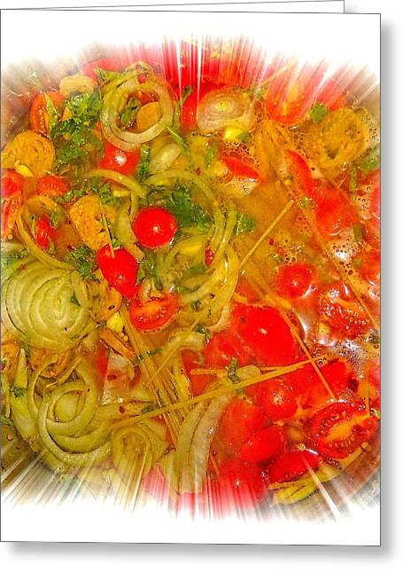 One Pan Pasta Cooking Greeting Card by Constantine Gregory