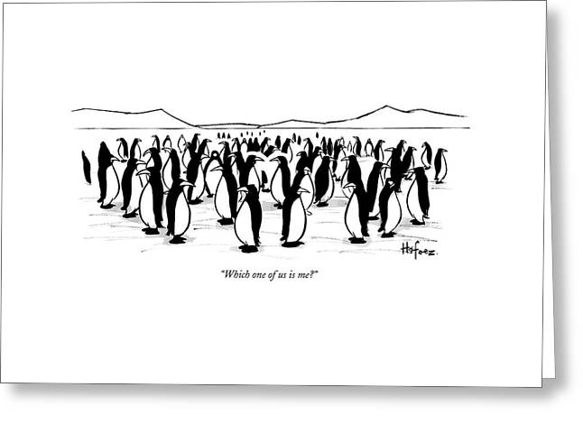 One Penguin In A Large Group Of Penguins Speaks Greeting Card