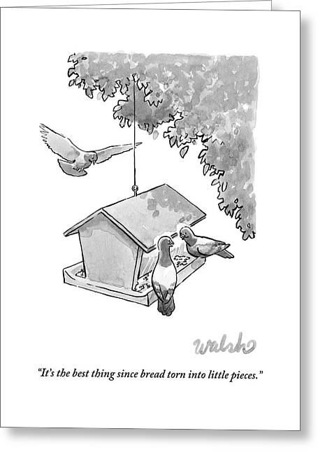One Pigeon Speaks To Another At A House-shaped Greeting Card
