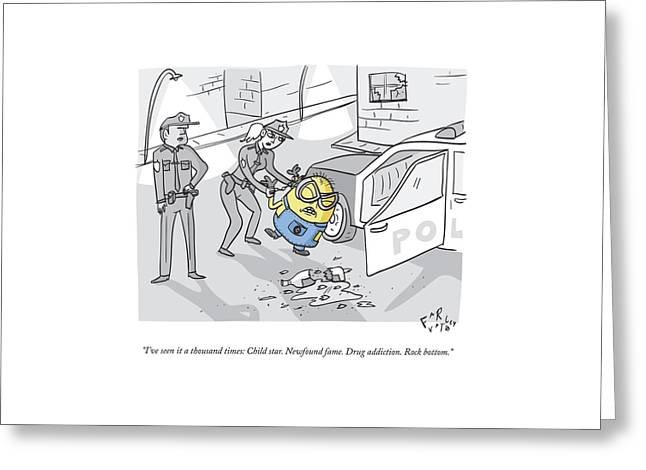 One Police Officer Speaks To Another Who Greeting Card by Farley Katz