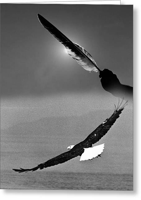One Power Black And White Greeting Card by Paul Eubanks
