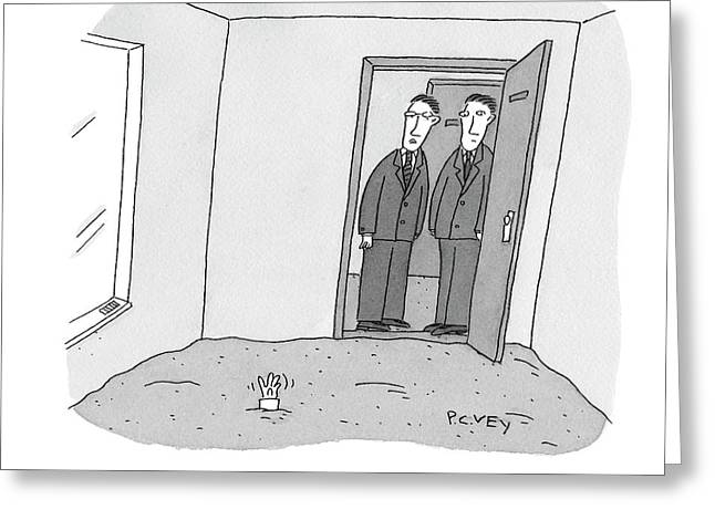 One Room Of An Office Is Full Of Quicksand Greeting Card