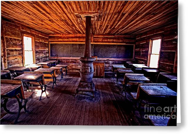 One-room School House Greeting Card by Paul W Faust -  Impressions of Light
