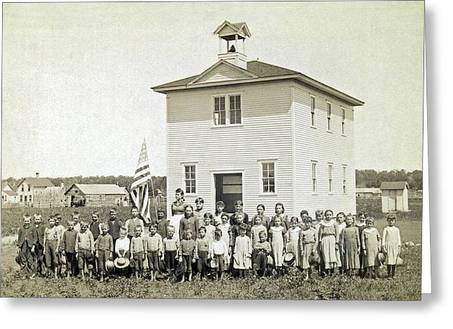 One Room Schoolhouse Greeting Card by Underwood Archives