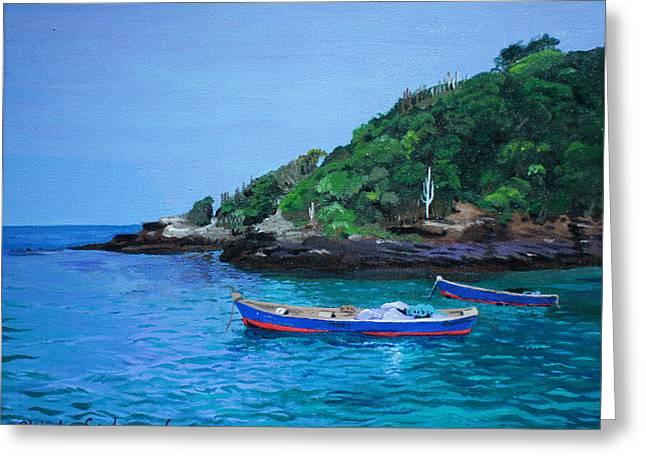 One Scenery Of Praia De Joao Fernandinho Greeting Card by Chikako Hashimoto Lichnowsky