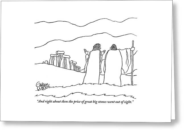 One Shepherd To Another As They Pass Stonehenge Greeting Card by Gahan Wilson