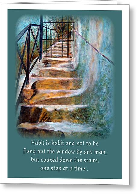 Greeting Card featuring the painting One Step At A Time by Donna Proctor