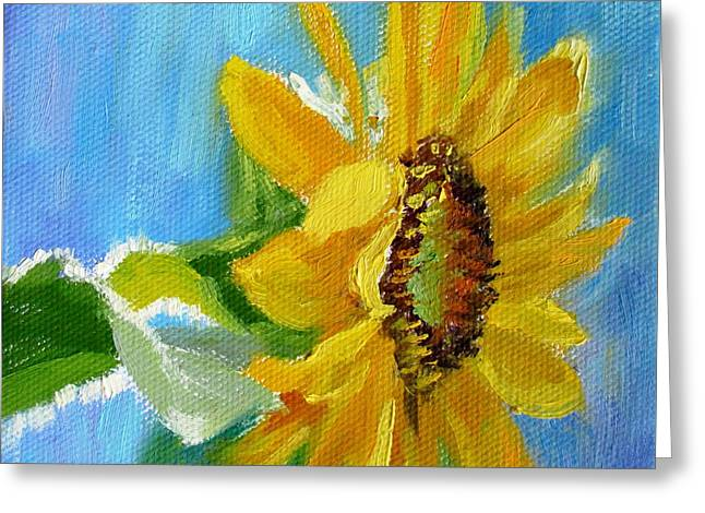 One Sunflower- With Bright Sunshine From Above Greeting Card by Bonnie Mason