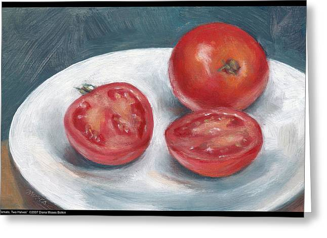 One Tomato Two Halves Greeting Card