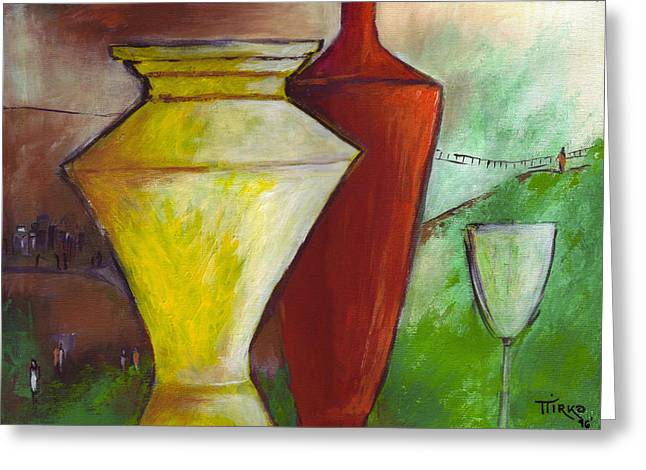 One Upon A Time Jars And Wine Greeting Card by Mirko Gallery