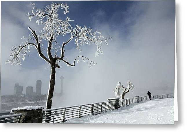 One Visitor At A Frigid Niagara Falls  Greeting Card by Gothicrow Images