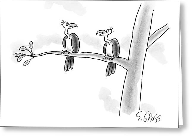 One Vulture Speaks To Another On A Tree Branch Greeting Card