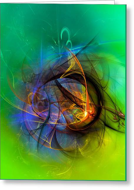 Colorful Digital Abstract Art - One Warm Feeling Greeting Card