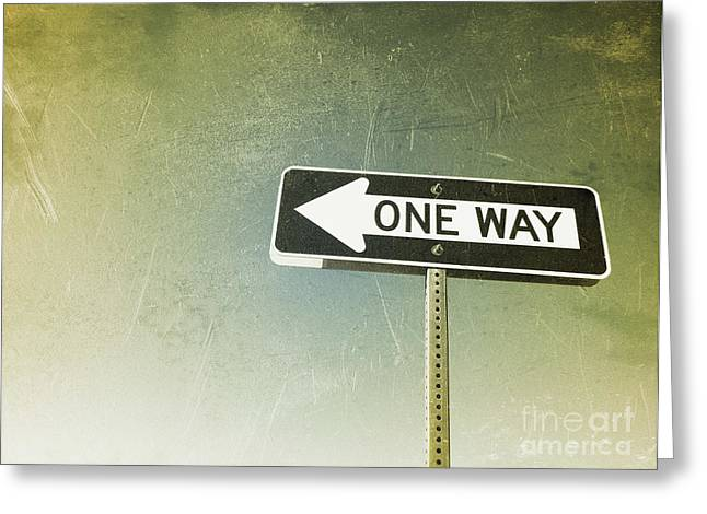 One Way Road Sign Greeting Card