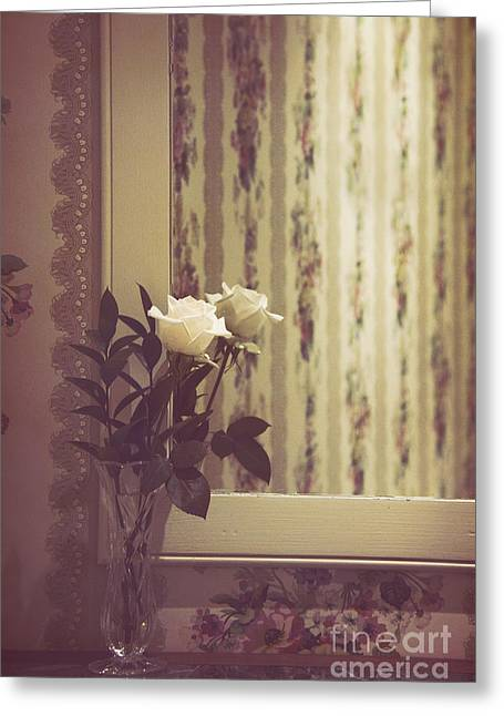 One White Rose Greeting Card by Margie Hurwich