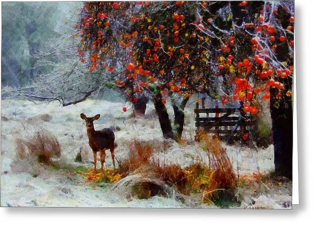 Greeting Card featuring the digital art One Winter Morning by Kai Saarto
