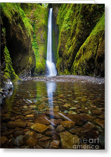 Oneonta Falls Greeting Card by Inge Johnsson