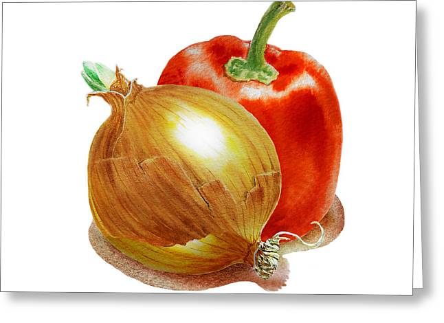 Onion And Red Pepper Greeting Card by Irina Sztukowski