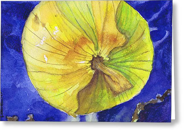 Greeting Card featuring the painting Onion On Blue Tile by Susan Herbst