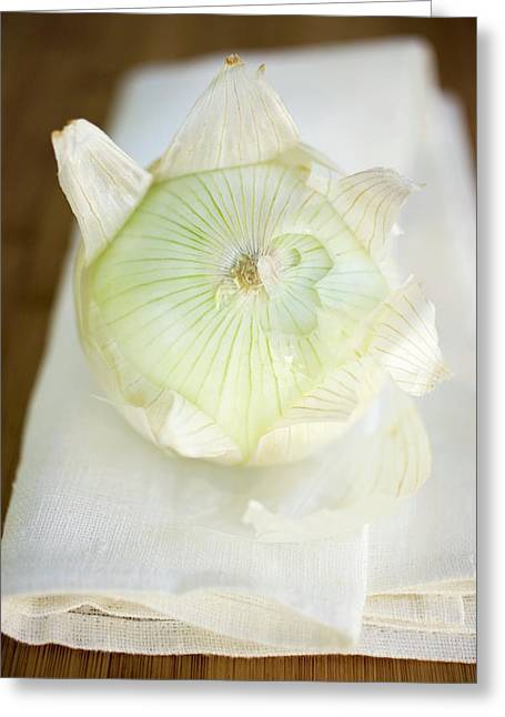 Onion, Partly Peeled, On Linen Cloth Greeting Card