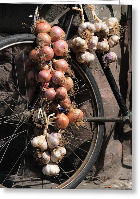 Onions And Garlic On Bike  Greeting Card by Jeremy Voisey