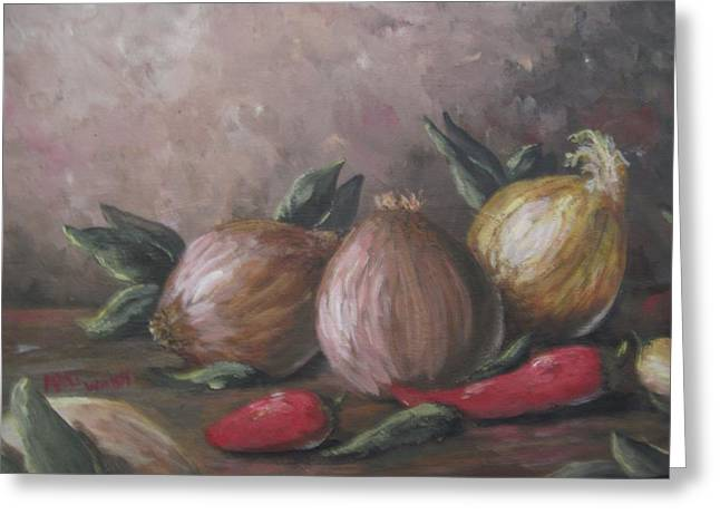 Greeting Card featuring the painting Onions And Peppers by Megan Walsh