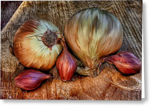 Onions And Scallions Greeting Card by Sharon Beth