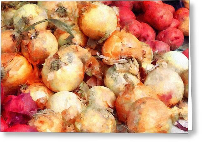 Onions Closeup Greeting Card by Susan Savad