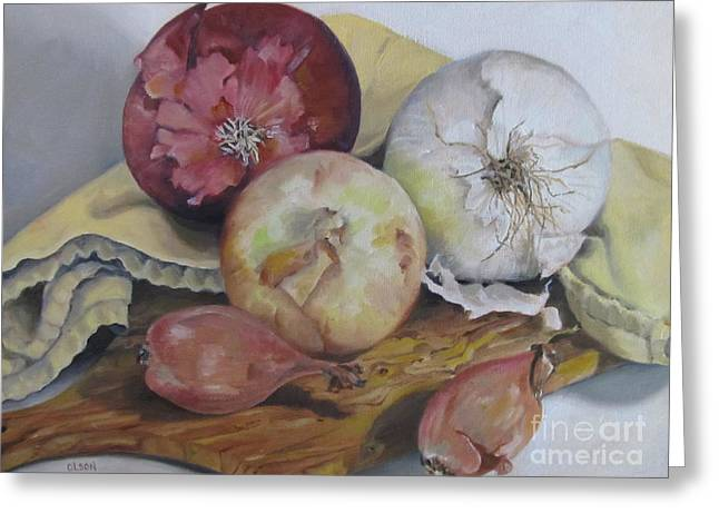 Onions Greeting Card by Karen Olson