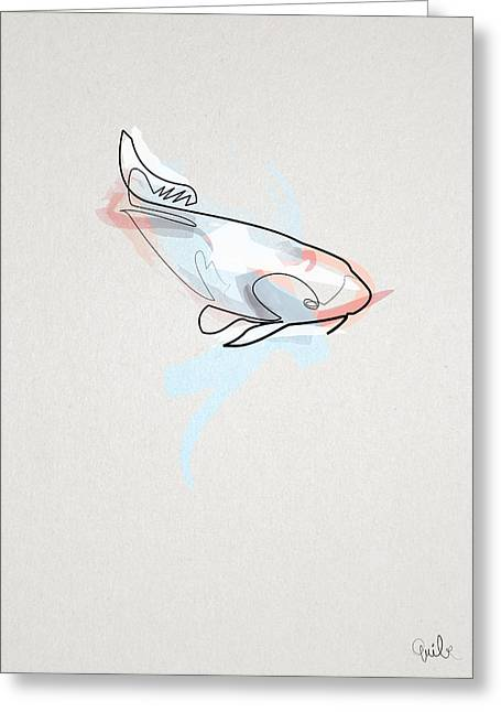 oneline Fish Koi Greeting Card by Quibe Sarl
