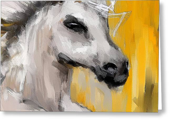 Only In His Eyes- Yellow And Gray Abstract Art Greeting Card by Lourry Legarde
