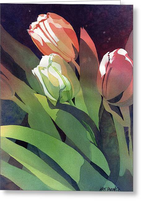 Only Three Tulips Greeting Card by Kris Parins