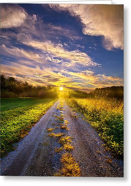 Onward The Traveler Goes Greeting Card by Phil Koch