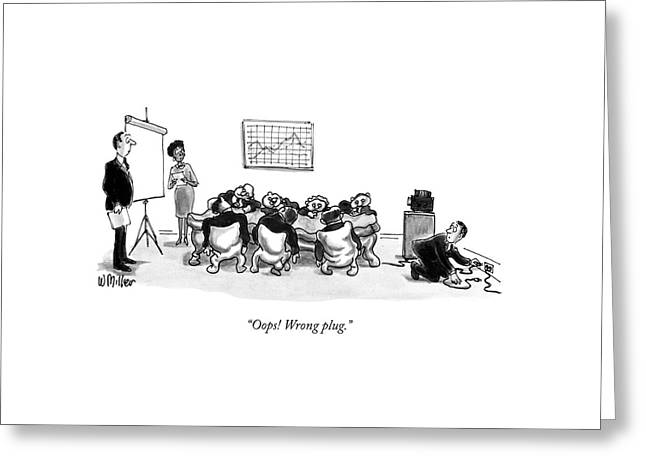 Oops! Wrong Plug Greeting Card by Warren Miller