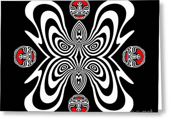 Op Art Geometric Abstract Black White Red Ornament No.126. Greeting Card
