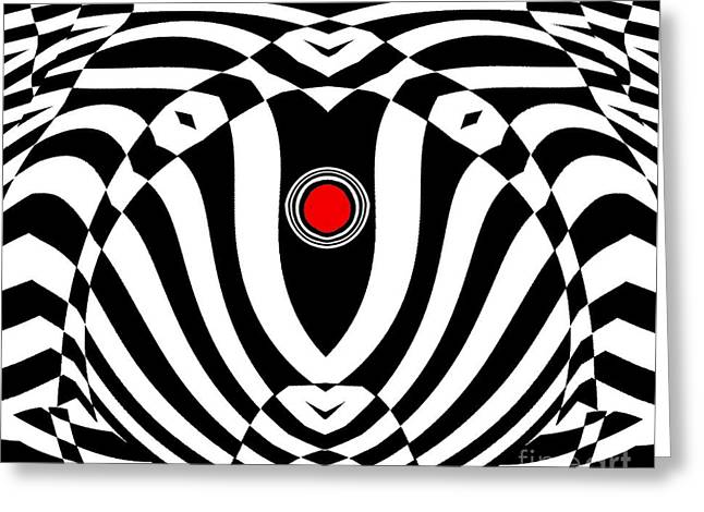 Op Art Geometric Black White Red  Abstract No.383. Greeting Card by Drinka Mercep