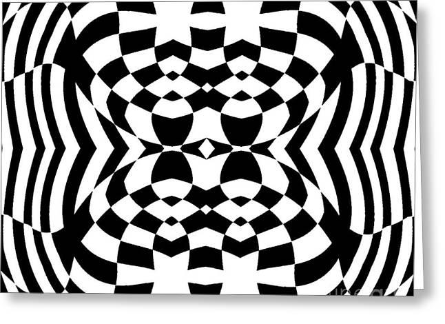 Op Art Geometric Pattern Black White Print No.230. Greeting Card by Drinka Mercep