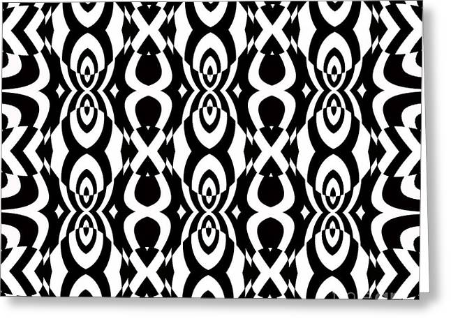 Op Art Pattern Geometric Black White Art No.338. Greeting Card by Drinka Mercep