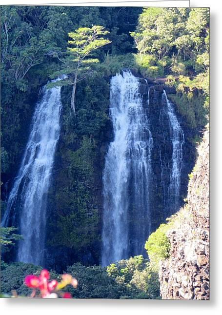 Opaeka'a Falls Greeting Card by Alohi Fujimoto