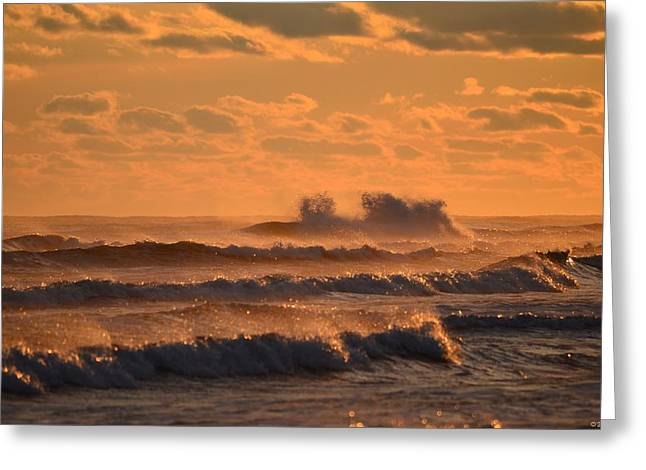 Greeting Card featuring the photograph Opal Beach Sunset Colors With Huge Waves by Jeff at JSJ Photography