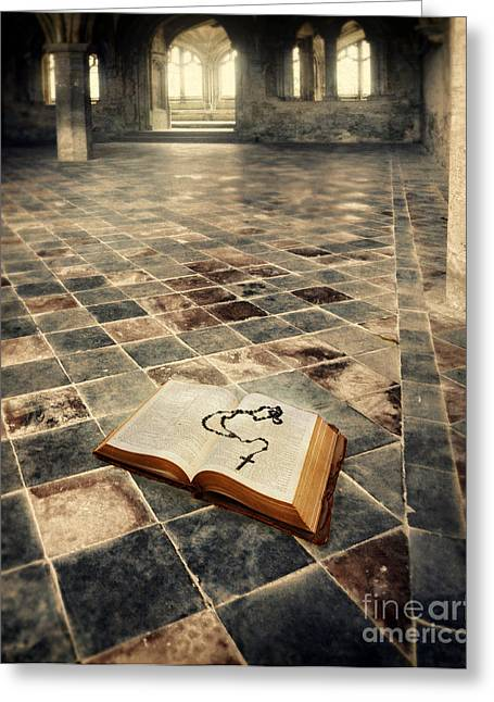 Open Book And Roasary On The Floor Greeting Card by Jill Battaglia