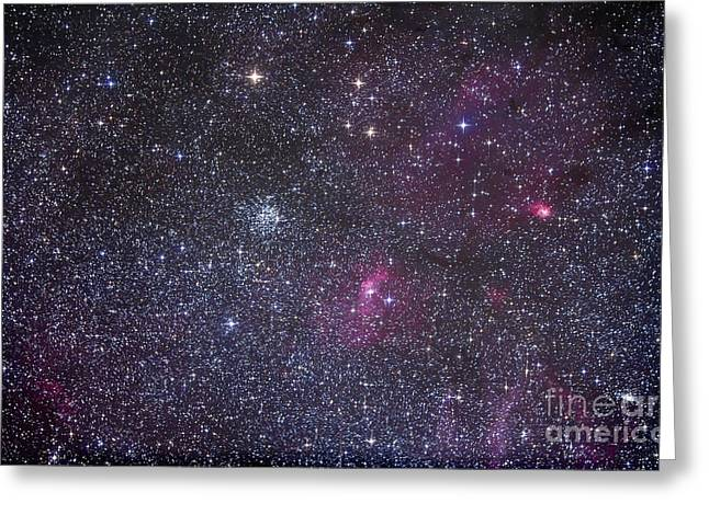 Open Cluster Messier 52 And The Bubble Greeting Card by Alan Dyer