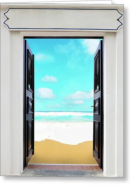 Open Door And Seascape Greeting Card by Wladimir Bulgar