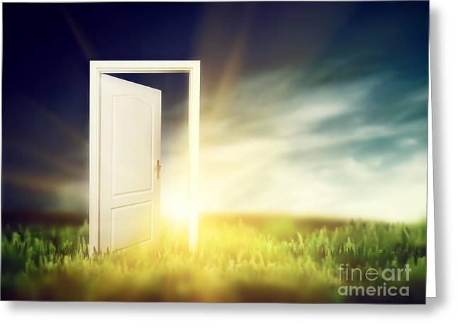 Open Door On The Green Field Greeting Card by Michal Bednarek