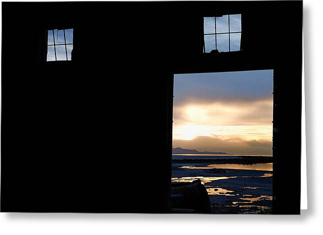 Open Door Sunset - A Great Salt Lake Sunset Greeting Card by Steven Milner