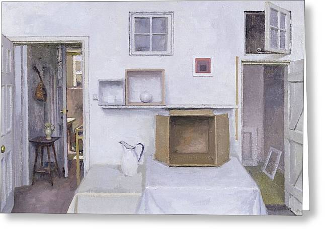 Open Doors - Framed Objects - Albers, 2004 Oil On Canvas Greeting Card