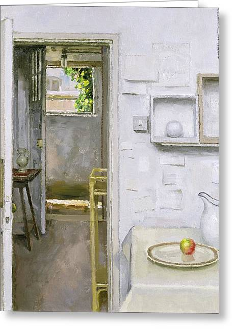 Open Doors With Still Life And Letter, 2004 Oil On Canvas Greeting Card by Charles E. Hardaker