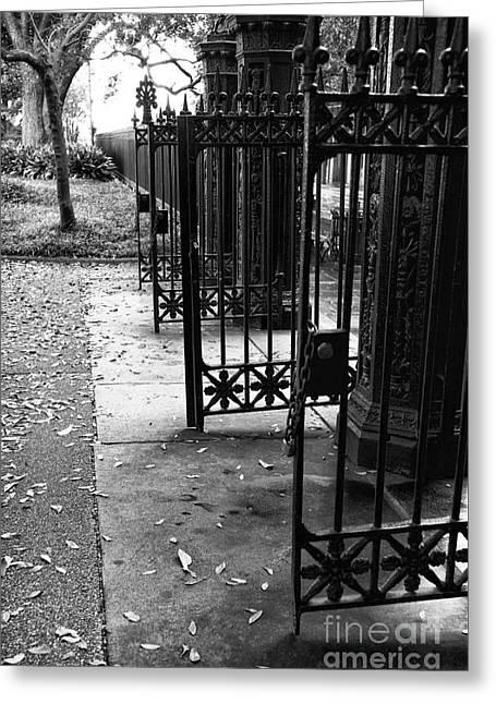 Open Gates In Jackson Square Mono Greeting Card