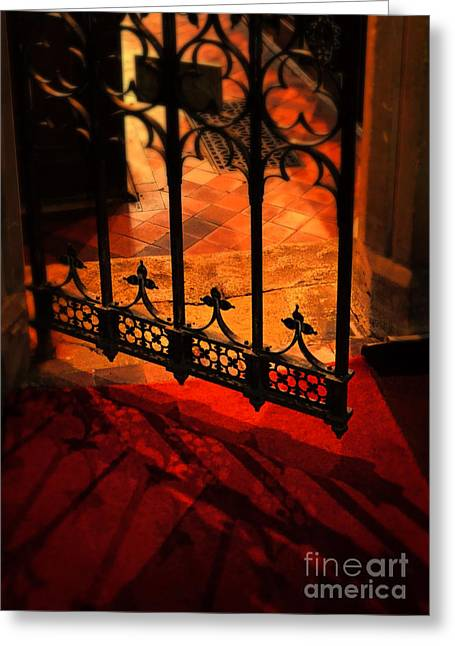 Open Iron Gate In Church Greeting Card by Jill Battaglia