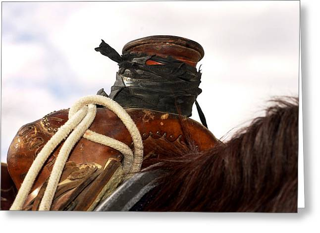 Open Range Saddle Greeting Card